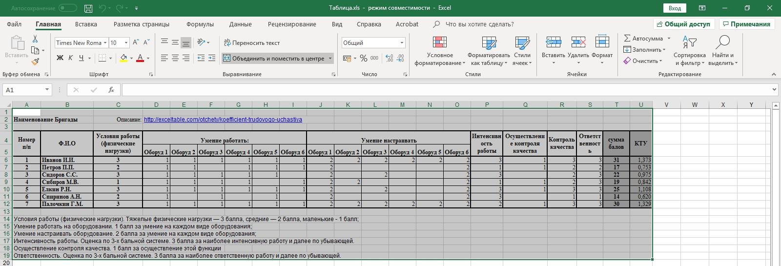 Таблица Выделение Excel